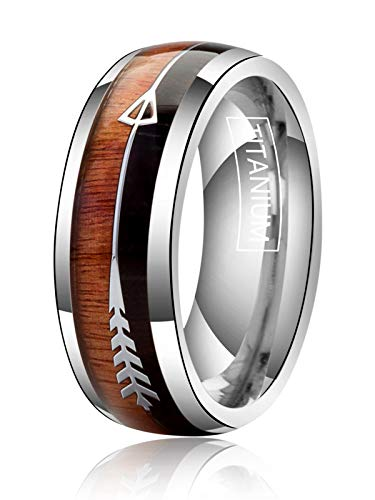 Just Lsy 8mm Titanium Rings for Men Women Wedding Bands Koa Wood and Silver Arrows Meteorite Inlay Plain Dome High Polished Comfort Fit Size 11 Lsy-007
