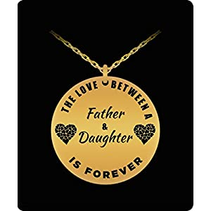 Father Daughter Necklace - Gold Plated Laser Engraved Pendant - Personal Gift From Dad