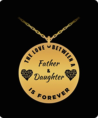 Collie Gift Box (Father Daughter Necklace - 18k Gold Plated Laser Engraved Pendant - Personal Gift From Dad)