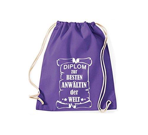 Shirtstown Bolsa de gimnasio Diploma para la besten Anwältin der Welt Púrpura