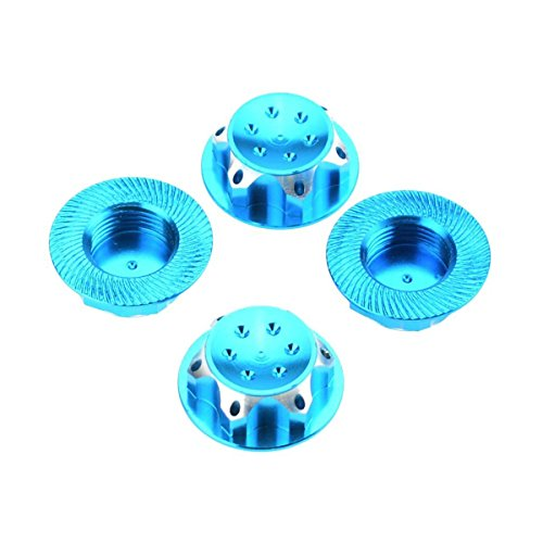 TOOGOO(R) 4Pcs RC Buggy 1/8 Scale 17mm Dust Lock Nuts Adapter for RC Off-Road Truck Redcat LOSI Team-C Wheel and Rims Nut (Blue) -