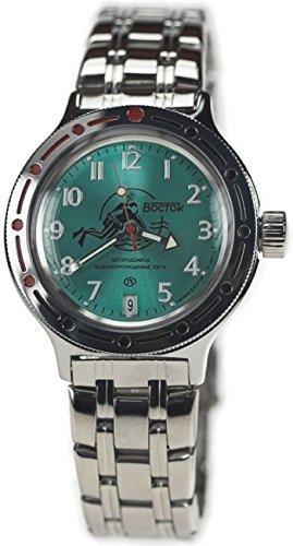 Vostok Russian Watch Movement (Vostok Amphibian Military Russian Diver Watch Scuba Dude Green 2416 / 420386)