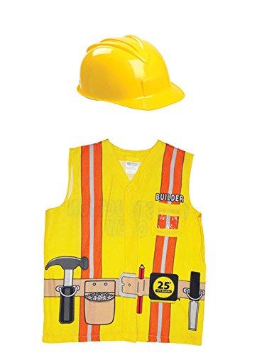 Aeromax My 1st Career Gear Builder Shirt and Construction Helmet 2 Piece Bundle. (Builder Bob Costume)