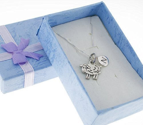 Little Girl's Silver plated pewter sheep necklace personalized with sterling silver initial charm on a sterling silver chain. Letter N Necklace. Initial Charm