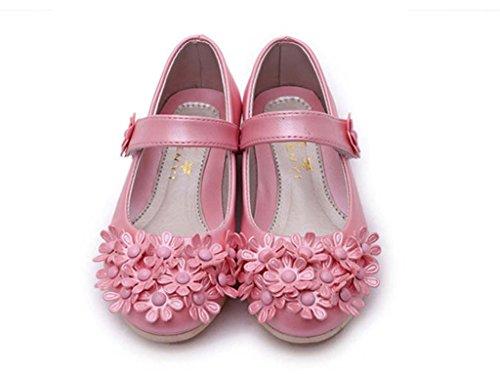 La vogue Mädchen PU Blumen Mary Jane Halbschue Pink