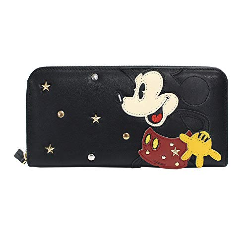 accommode (아코모데) 지갑 미키 마우스 박힌 가죽 지갑 블랙/와인