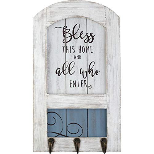 (Precious Moments Farmhouse Decor Bless This Home Wood/Metal Wall Plaque With Three Hooks 189915 )