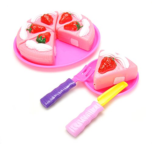 PowerTRC Pretend Play Food Strawberry Cake Dessert Playset 12 pcs with Velcro