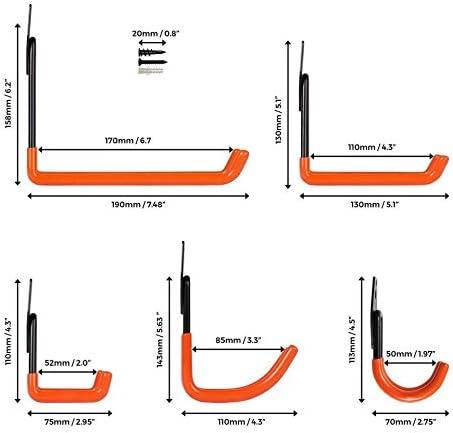deposito attrezzi per scale ganci a U lunghi FIAMER Garage in acciaio per riporre ganci doppi per impieghi gravosi bici tubi flessibili e altre attrezzature
