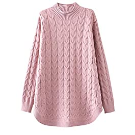Minibee Women's Long Sleeve Sweater Mock Turtleneck Pullover Tops Ribbed Cable Knit Jumper