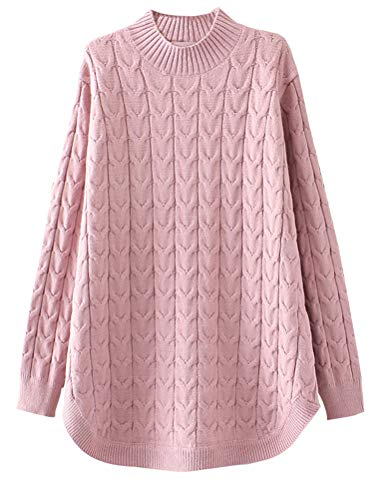 Minibee Women's Long Sleeve Sweater Mock Turtleneck Pullover Tops Ribbed Cable Knit Jumper Pink XL