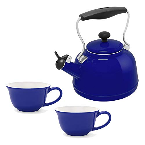 Chantal 1.7-Quart Vintage Teakettle, Cobalt Blue with 2-Piece 8-Ounce Tea Lover's Mug, Blue and -