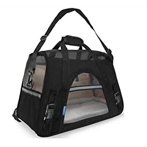 black pet carrier soft sided travel bag airline approved for cats&dogs