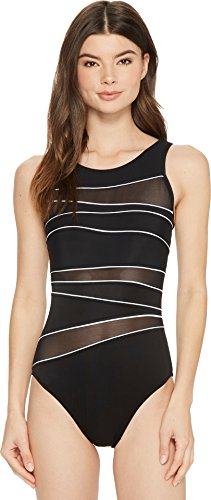 (Miraclesuit Women's Spectra Somerset One Piece High Neck Swimsuit Black/White)
