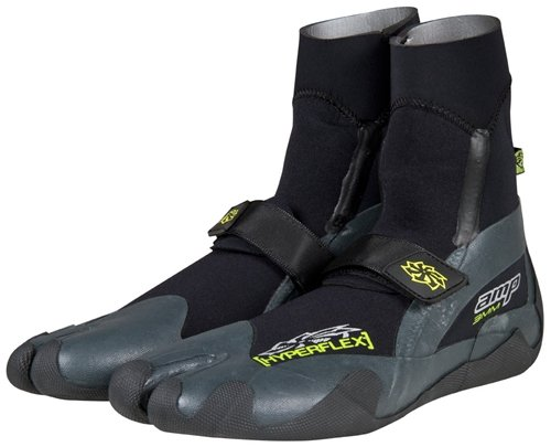 Hyperflex Wetsuits Men's 3mm Amp Split Toe Boot, Black, 7 - Surfing, Windsurfing & Wakeboarding