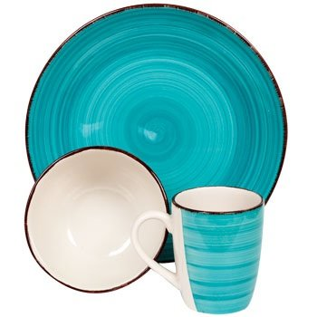 Turquoise Blue Coffee Mugs (My Sanctuary 12-Piece Dinnerware Set, Turquoise - Service for 4, Dishes, Bowls and Coffee Mugs)