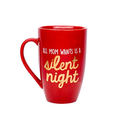 Pearhead 'All Mom Wants is a Silent Night' Ceramic Coffee Mug in Red, A Perfect Holiday Gift for a New or Expecting Mother, 22oz