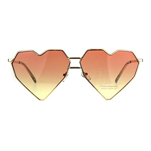 Womens Squared Heart Shape Oceanic Gradient Lens Sunglasses Orange - Gradient Squared