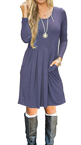 AUSELILY Women's Long Sleeve Pleated Loose Swing Casual Dress with Pockets Knee Length (M, Purple Gray)
