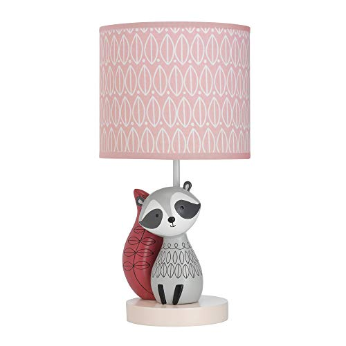 Lambs & Ivy Little Woodland Raccoon Lamp with Shade & Bulb, Pink/White - Woodland Shade Bulb