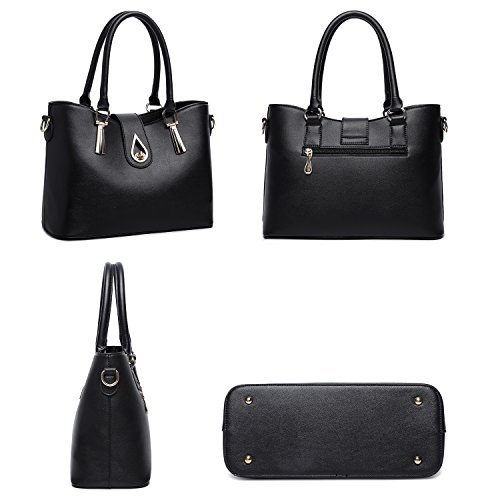 Fashion Set Leather Women's Card N Holder Tote PU Black Handbag Tibes Shoulder 4pcs Bag Purse Pdq4wPCtx