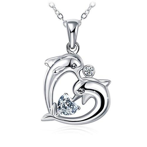 GUNDULA 925 Sterling Silver Cute Dolphin Heart ...