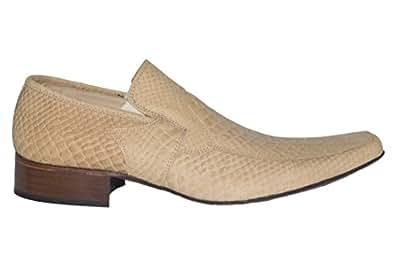 Twenty M-378 Mens Beige Nubuck Crocodile Print Slip On Shoes
