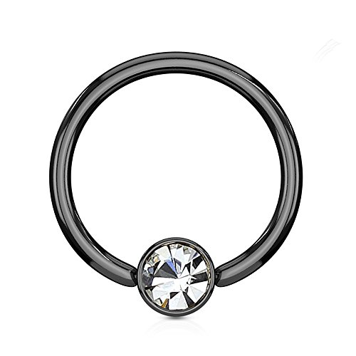 (Inspiration Dezigns Black Flat Cylinder Captive Bead Ring with Clear Gem (Sold Individually) (14G, L: 3/8, Ball: 4mm))