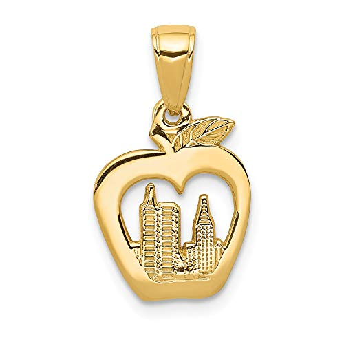 (14k Yellow Gold New York Skyline In Apple Pendant Charm Necklace Travel Transportation Fine Jewelry Gifts For Women For Her)