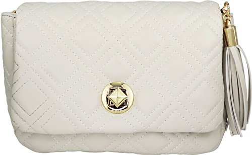 B BRENTANO Vegan Quilted Flap-Over Crossbody Bag with Chain Strap and Tassel Accent (Off-White) - White Off Stitch