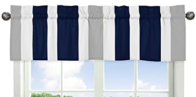 Navy Blue, Gray and White Window Treatment Valance for Stripes Bedding Collection by Sweet Jojo Designs that we recomend personally.
