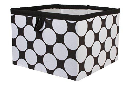 Bacati Dots/Stripes Storage Tote Basket, Black/White, Large