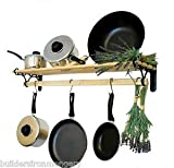 IRONMONGERY WORLD? TRADITIONAL COUNTRY KITCHEN SHELF POT PAN RACK HOLDER HANGER WITH CAST IRON ENDS (1.5M/ 5 FOOT) by Ironmongery World