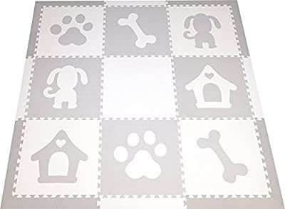 SoftTiles Dog Theme Premium Interlocking Foam Large Children's Playmat 78†x 78â€