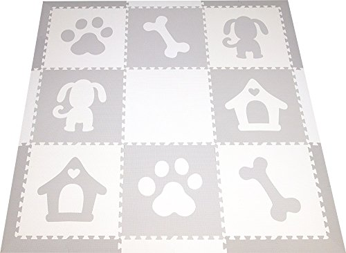 SoftTiles Children's Foam Playmat- Dog Theme- Nontoxic Premium Interlocking Floor Tiles for Kids Playrooms and Baby Nursery 6.5' x6.5' (Light Gray, White) SCDOGWH by SoftTiles