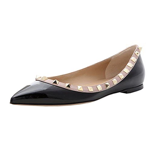 Merumote Womens Flats Met Dubbele Gespen Mode Sexy Klinknagels Rockstud Dagelijkse Puntschoen Balletschoenen Zwart Zonder Bandjes