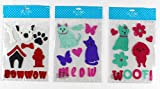 Animal Pet Gel Cling: Aqua Pink Purple Black Red White Dogs and Cat Decorations for Home Office Windows Mirrors and More
