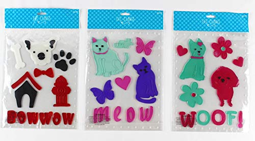 Animal Pet Gel Cling: Aqua Pink Purple Black Red White Dogs and Cat Decorations for Home Office Windows Mirrors and More by Magic Creations