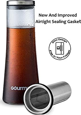 Gourmia Cold Brew Coffee Maker Gourmet Iced Coffee Maker With Removable Steeping Column, Airtight Design For The Freshest Brew