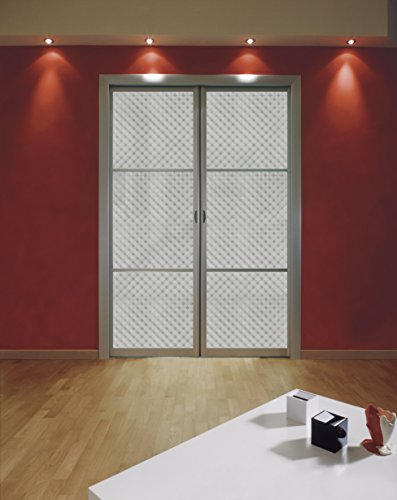 42 x 72 Clear Embossed Small Squares Stained Glass Window Film. Static Cling Film. With Transparency, 3D Effect, Frosted, Crystal, Energy Saving, by Windowpix (Image #4)