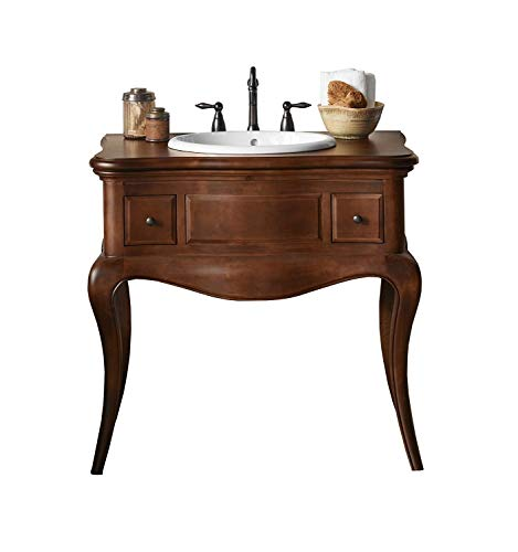 RONBOW Corsica 37 inch Modular Bathroom Vanity Set in Colonial Cherry, Single Bathroom Vanity with Top in Wood, White Oval Self-Rimming Vessel Sink 073036-F11_Kit_1