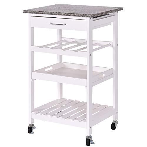 Giantex 4-Tier Kitchen Cart Rolling Wood Kitchen Trolley Island Cart with Lockable Wheels, Drawer, Storage Shelf, Wine Rack and Granite Countertop (White) ()