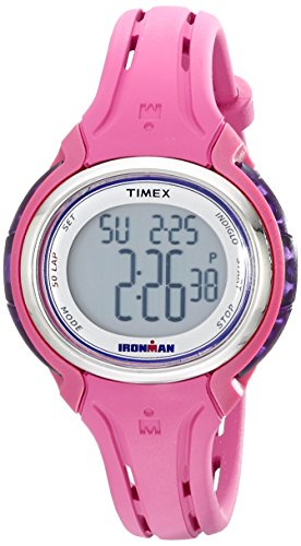 Timex Women's TW5K904009J Ironman Sleek 50 Pink Silicone Strap Watch