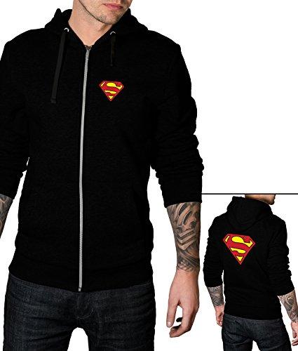 Mens Superman Zip Up Hoodie   Black, (Superman Zip Up Hoodie)
