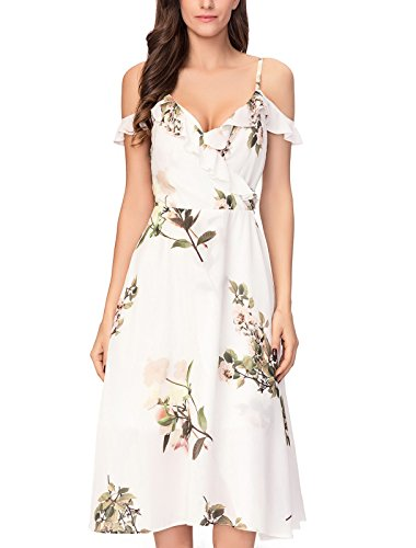 Noctflos Summer Women's White Floral Chiffon Cocktail Party Dresses Cold Shoulder Midi Dresses for Casual Beach Wedding (Small)