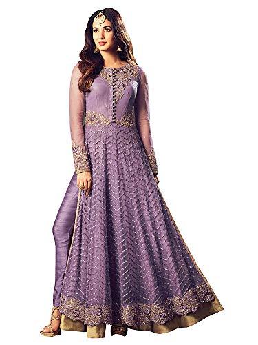 (Women's Designer Indian Anarkali Salwar Kameez Dress Ethnic Purple with Gold Work Embroidered Suit Georgette)