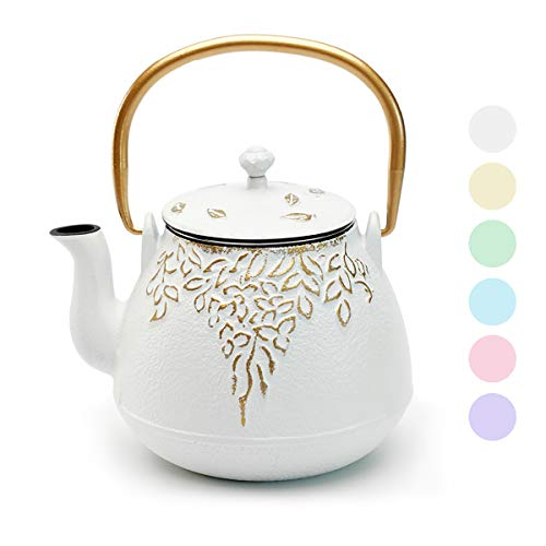Tea Kettle, TOPTIER Japanese Cast Iron Tea Kettle with Infuser, Cast Iron Teapot Stovetop Safe, Leaf Design Tea Kettle Coated with Enameled Interior for 32 Ounce (950 ml), White
