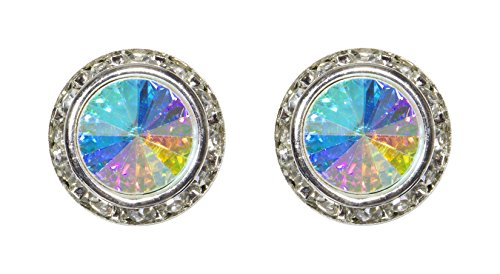 Custom Button Earrings (#12537 AB 16mm Rondel with Rivoli Button Earrings - Clip)