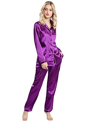 n Silky Pajama Set Soft Sleepwear Long Sleeve XL Purple ()