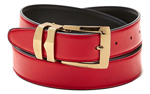 Reversible Belt Bonded Leather with Removable Gold-Tone Buckle RED / Black 34 -